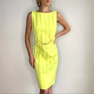 Milly Bright Textured Yellow Chain Link Dress 6